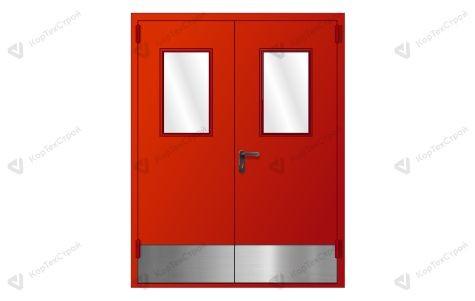 Дверь со остеклением и металлическим отбойником