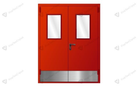 Дымогазонепроницаемая двупольная дверь со стеклом и отбойником