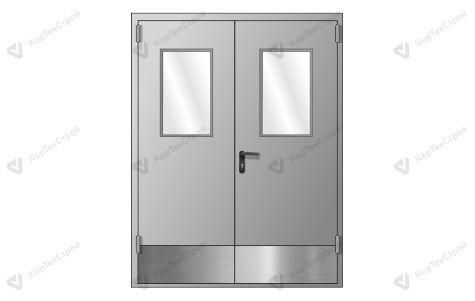Двупольная противопожарная дверь с отбойником RAL 7035