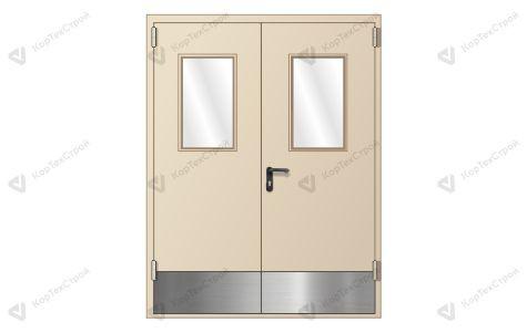 Противопожарная дверь со стеклом и отбойником