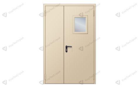 Полуторапольная противопожарная дверь со стеклом