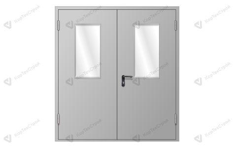 Двупольная противопожарная дверь со стеклом