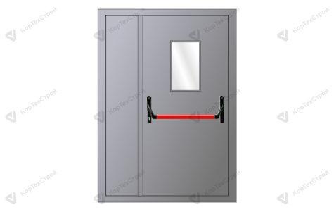 Полуторная дверь со стеклом и антипаникой