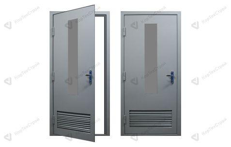 Искронедающая дверь со стеклом и вентрешеткой